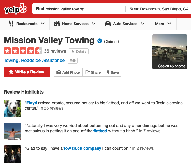 How to Find a Towing Company on Yelp